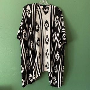 Black and white tribal design cardigan